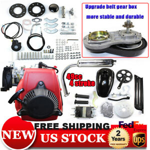 Details about 49cc 4 stroke Gear BIKE BICYCLE ENGINE pull petrol Conversion  kit W/ Belt
