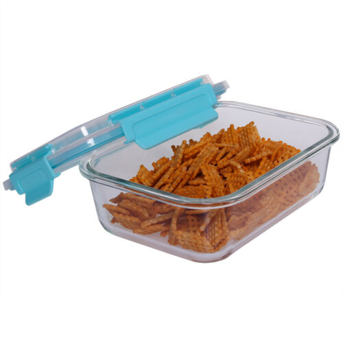 35 oz Rectangle Leak Proof Glass Storage Container Air-Tight Turquoise EBY60302