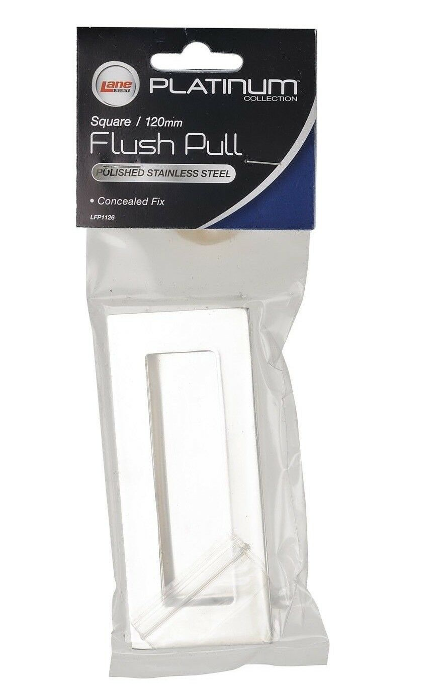 Lane SQUARE FLUSH PULL Concealed Fix, Polished Stainless Steel- 120mm Or 220mm