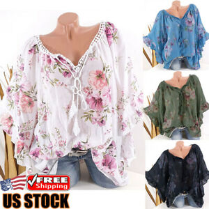 Women-Floral-Batwing-Short-Sleeve-Loose-T-Shirt-Ladies-Summer-Casual-Blouse-Tops