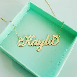 14 carat 14k 14 karat real gold Personalized Jewelry Gold  necklace with name