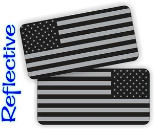 2x REFLECTIVE American Flag Black Ops Stickers Decals | Stealthy AR15 Flags USA