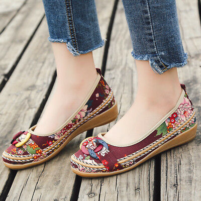 Fashion Women Ethnic Beading Round Toe Colorful Casual Embroidered Cotton Shoes