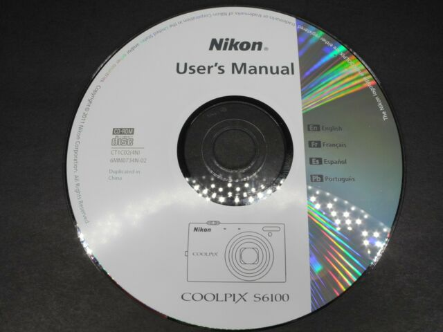 Nikon Coolpix User's Manual CD For S6100 In English French Spanish Portuguese