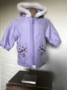 Girls' Clothing (newborn-5t) Outerwear 100% Quality 3-6 Mo Baby Girls Jacket Coat Hooded Gymboree Light Purple Hearts & Flowers And Digestion Helping
