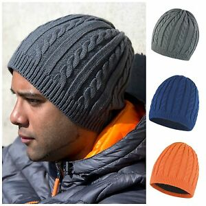f5095d13ea1cb Image is loading Cable-Knit-Beanie-Chunky-Winter-Warm-Fleece-Lined-