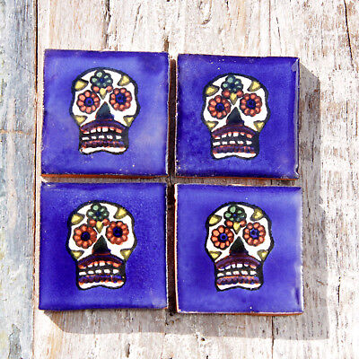 4 Ceramic Mexican Tiles Violet SMALL SIZE 5 x 5 cms