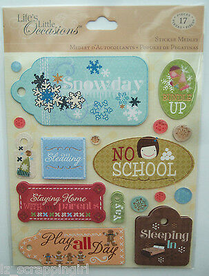 Life's Little Occasions ~SNOWDAY~ Stickers Medley K & CO Company; SNOW DAY FUN!