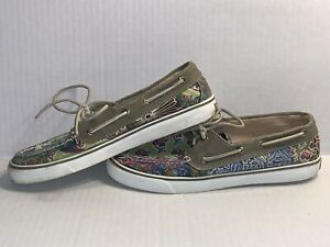 SPERRY-TOP-SIDER-CANVAS-Bahama-Print-BOAT-SHOES-Floral-9445917-Women-s-Size-9-5
