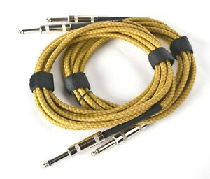 GUITAR LEADS NOISELESS CABLE 10FT / 3M JACK TO JACK YELLOW BRAIDED QTY OF 2