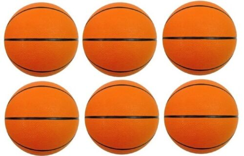 "6 PACK OF REPLACEMENT MINI BASKETBALLS BASKET BALLS SIZE 3-7/"" DIAMETER"