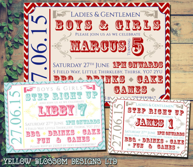 10 poster circus ticket festival invite personalised birthday party