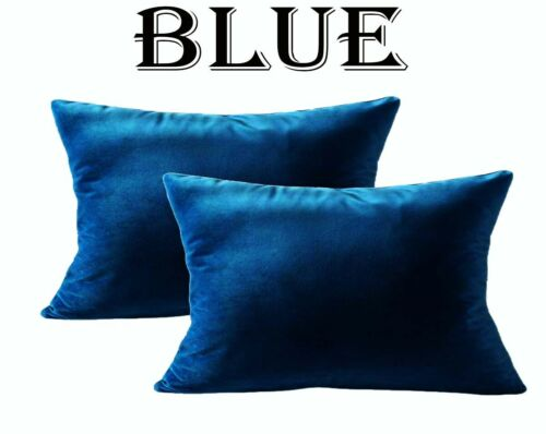 Velvet Throw Pillow Covers Sofa Cushion Cases Soft Solid Rectangle Blue