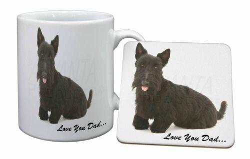 Scottie Dog /'Love You Dad/' Mug+Coaster Christmas//Birthday Gift Idea DAD-121MC