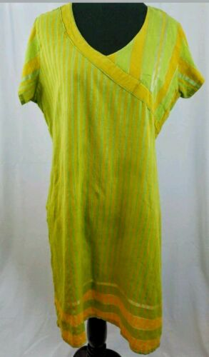 Green Stripes Neck Size Orange Sleeve 40 India Short Tunic Cotton V ZwEPUWqS4n