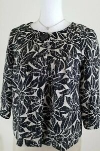 Michael Kors~Women's Size S/P~Beige/Black Linen Blazer Jacket 3/4 Sleeve Career.