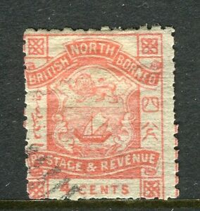 NORTH BORNEO; 1888-92 early classic 'Postage & Revenue' issue used 4c. value