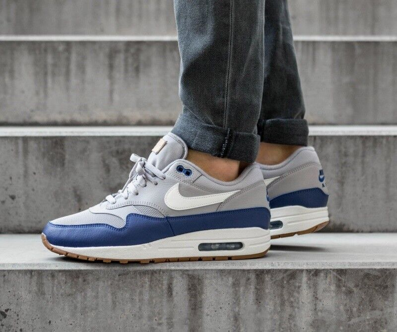 Nike Air Max 1 Premium Grey bluee White Men's shoes Lifestyle Comfy Sneakers