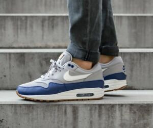 393df2454378 Nike Air Max 1 Premium Grey Blue White Men s Shoes Lifestyle Comfy ...
