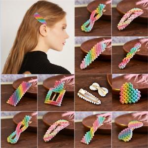 Korean-Design-Rainbow-Pearl-Hair-Clip-Snap-Barrette-Stick-Hairpin-Sweet-Snap