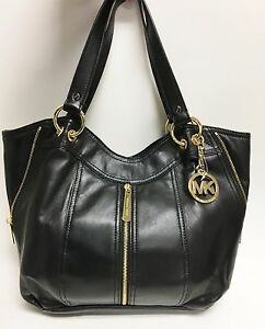 Image Is Loading New Michael Kors Moxley Black Soft Leather Gold
