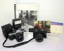 VINTAGE CANON AE-1 PROGRAM FILM CAMERA KIT, 2 LENSES, FLASH, WINDER, PAPER WORK