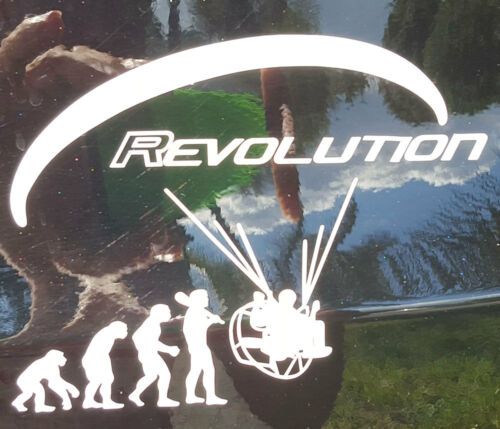 2 X PARAMOTOR REVOLUTION  PPG FOOT LAUCH  PARAGLIDER VINYL  DECAL STICKER