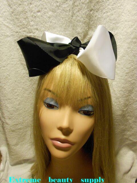 """super 8"""" polka dots Big huge lady Girl Extra Large JUMBO clip Hair Bow ribbon"""