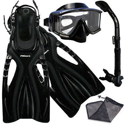 Return item- All black -S/M Panoramic Purge Dive Mask Dry Snorkel Fins Gear Set