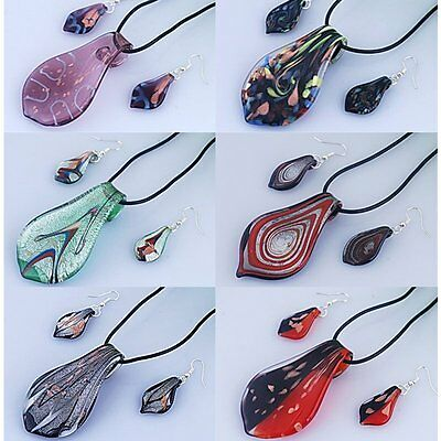Wholesale Hot Murano Glass Waterdrop Necklace Earrings Set Womens Wedding Party