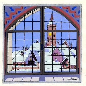 1930s-French-Pochoir-Max-Ninon-Print-Art-Deco-Winterscape-Christmas-View-Snow