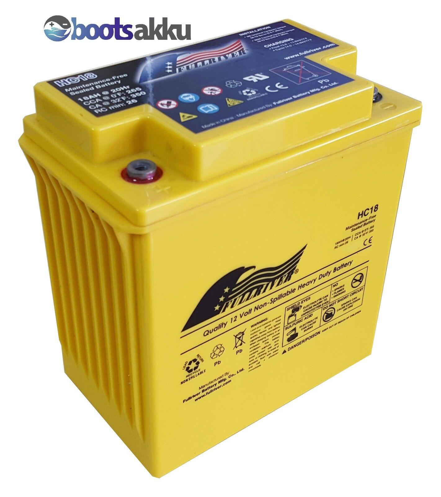FULLRIVER HC18 AGM Akku Batterie 12V 12V Batterie 18Ah wie Odyssey PC625 d26895