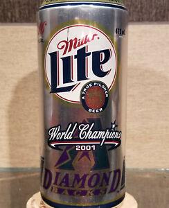 2001 WORLD CHAMPIONS ARIZONA DIAMONDBACKS MILLER LITE 16oz  BEER CAN BASEBALL