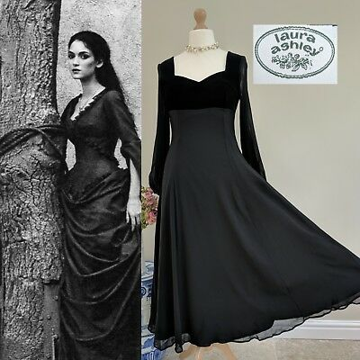 2019 Moda Laura Ashley Vintage Regency Stile Impero Seta Velluto Nero Gotico Abito Da Sera Uk 12-mostra Il Titolo Originale
