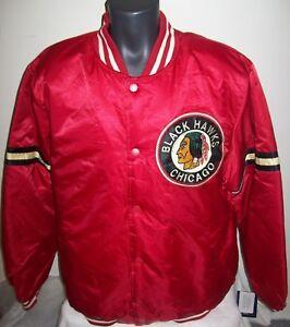 5cacde31a Image is loading CHICAGO-BLACKHAWKS-NHL-STARTER-Satin-Jacket-Traditional-XXL -