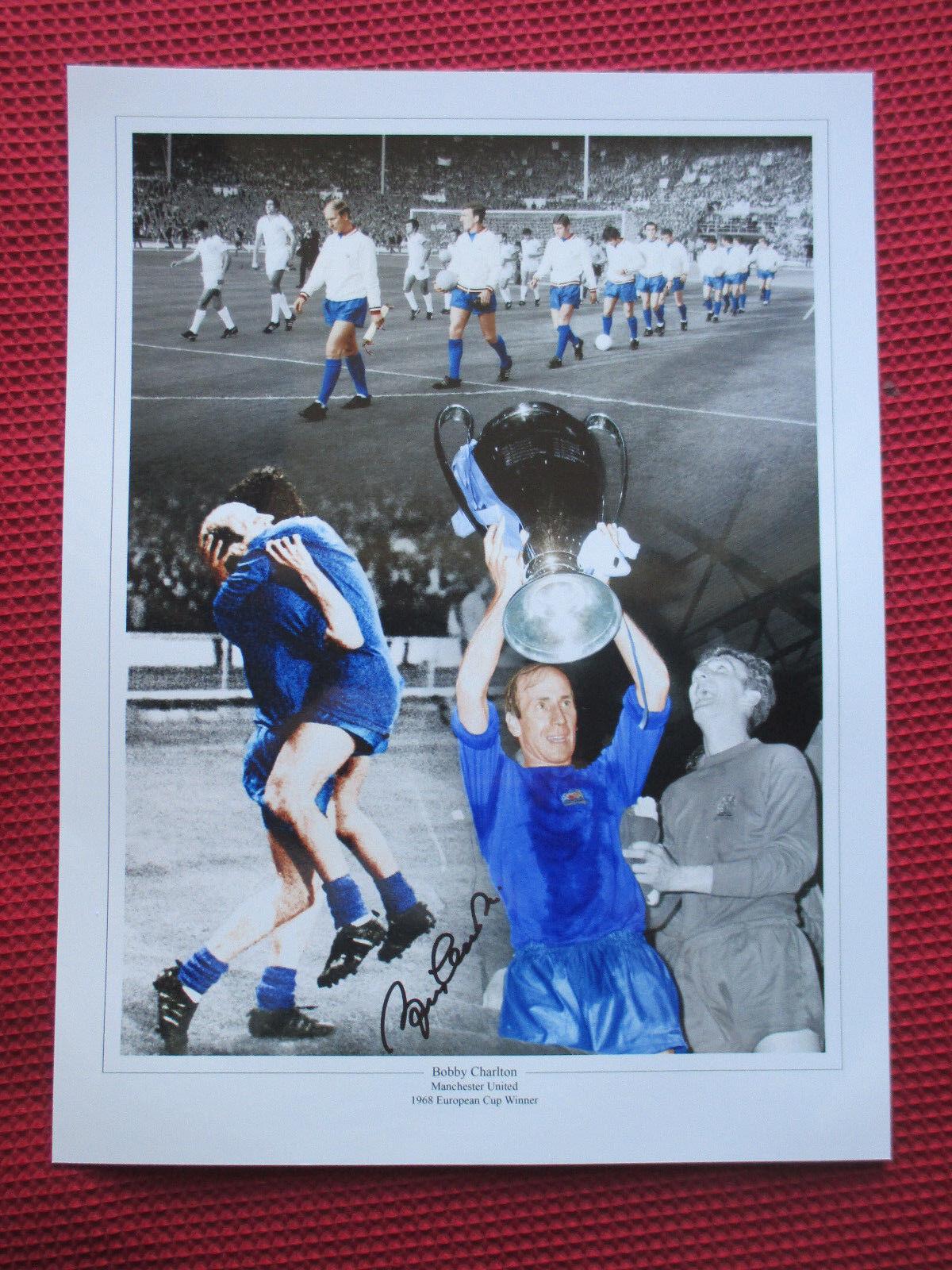 Manchester United leyenda Bobby Charlton Firmado de de de mano 12  X 16  1968 foto prueba 47a7ab