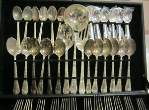WM-Rogers-amp-Son-Silverplated-flatware-Enchanted-Rose-63-pieces