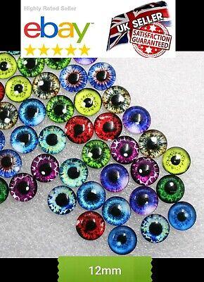 20 EYE GLASS CABOCHONS 12mm-CAT//DRAGON EYES-FLATBACK//JEWELLERY//GEM-CABOCHON-PAIR