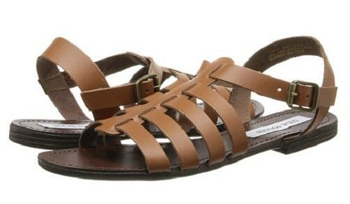 Steve Madden Anit strappy flat sandals cognac brown leather sz 8 Med NEW