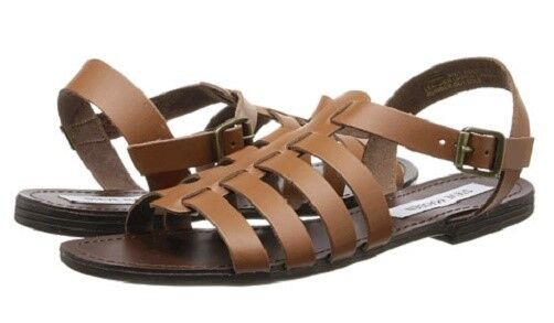 Steve Madden Anit strappy flat sandals cognac brown leather sz 9.5 Med NEW