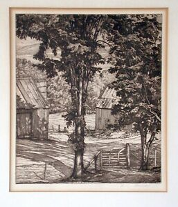 """TREES AND SHADOWS,"" A FRAMED ETCHING BY LUIGI LUCIONI"