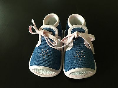 Babybotte France Crib Sandals Denim and Pink NWB