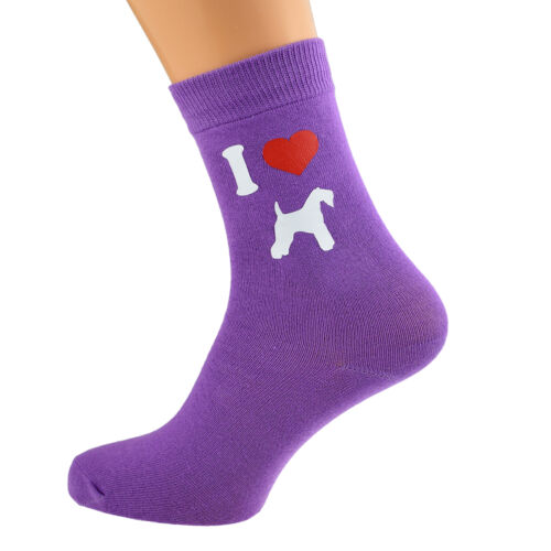I Love Kerry Blue Terriers Ladies Purple Dog Socks UK Size 4-8 X6N143