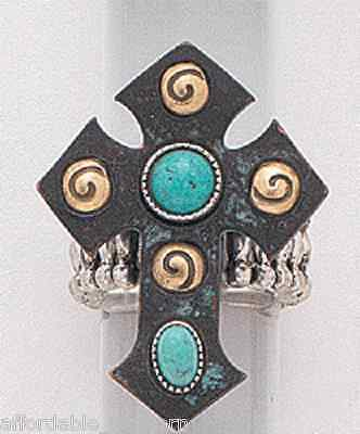 Emulily Western Turquoise Flower Adjustable Cuff Ring