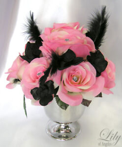 Details About 6 Centerpieces Wedding Decoration Table Vase Cup Altar Flower Pink Black Feather