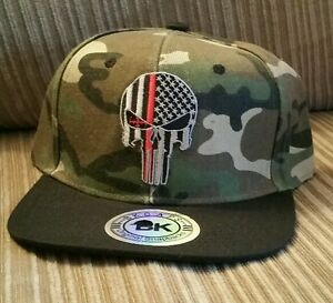 a0bd35b7c45 Punisher Red Line Fire Fighters Ball Cap Flat bill hat Military USA ...