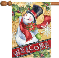 Toland - Candy Cane Snowman - Welcome Winter Christmas Holly House Flag