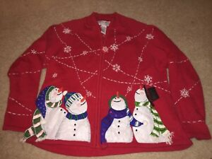 Vintage Christmas Sweater Heirloom Collectible M  snowman Christmas sweater