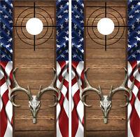 Buck Deer Skull American Flag Wood Cross Heirs Cornhole Board Decal Wrap Wraps