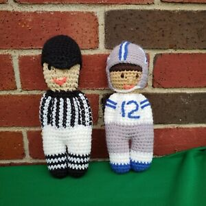Crochet Doll Vintage Football Player Dallas Cowboys #12 Roger Staubach & Referee